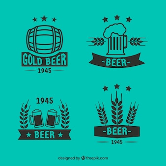 Colección de logos planos de cerveza
