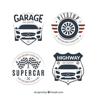 Colección de logos planos de coches