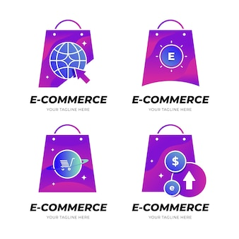 Colección de logos planos de comercio electrónico