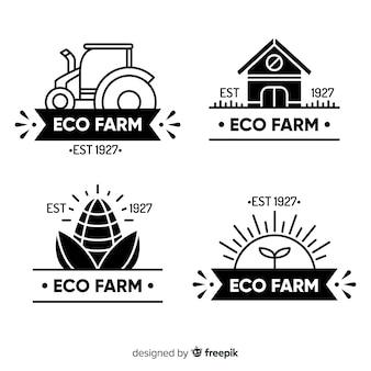 Colección logos planos de granja negros