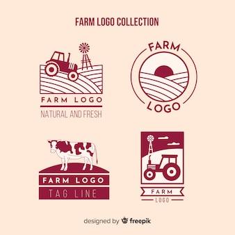 Colección logos planos de granja rojos