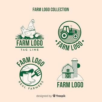 Colección logos planos de granja verdes