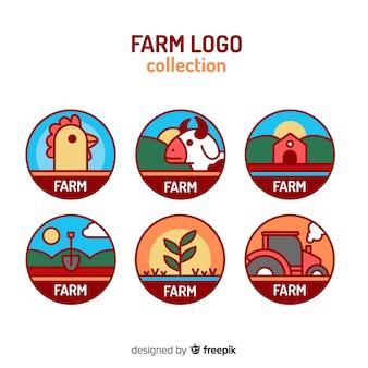 Colección logos planos de granja