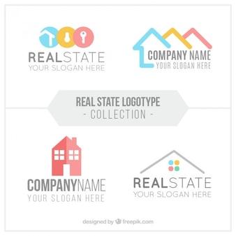 Colección de logos planos de inmobiliaria en diseño abstracto