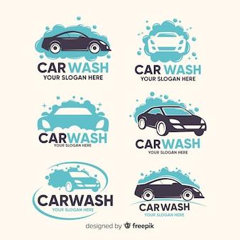 Colección logos planos lavado de coches