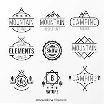 Colección de logos planos de montaña