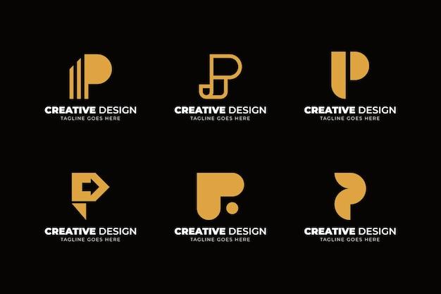 Colección de logos planos p