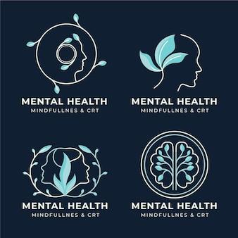 Colección de logos planos de salud mental
