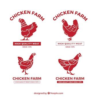 Colección de logos de pollos de granja
