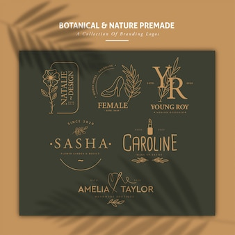 Colección de logos prefabricados botánicos y naturales