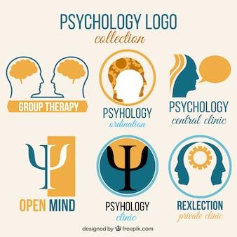 Colección de logos de psicología azul y naranja