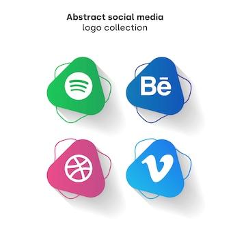 Colección de logos de redes sociales abstracta