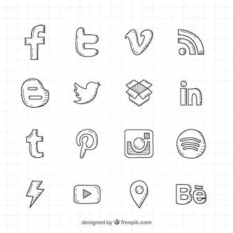 Colección de logos de redes sociales dibujados a mano