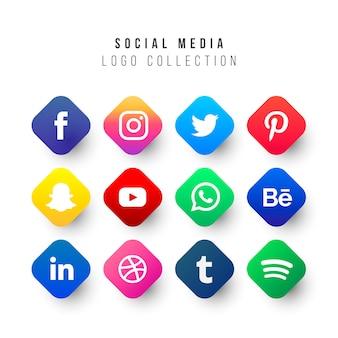 Colección de logos de redes sociales con formas geométricas.