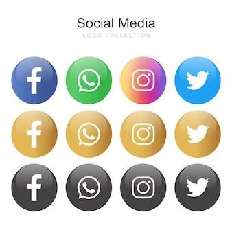 Colección de logos de redes sociales populares en círculos