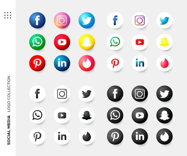Colección de logos en redes sociales.