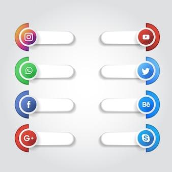 Colección de logos de redes sociales.