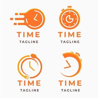 Colección de logos de relojes planos