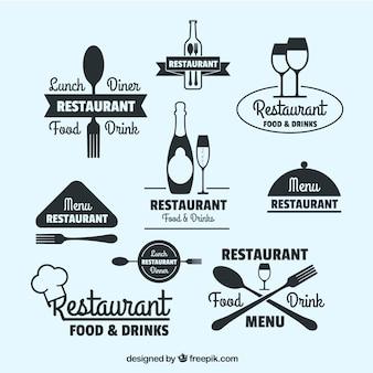 Colección de logos de restaurante dibujados a mano