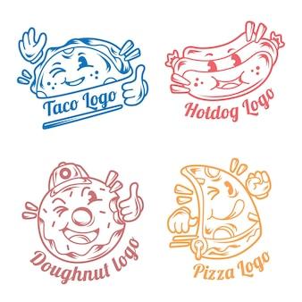 Colección de logos de restaurante de dibujos animados retro
