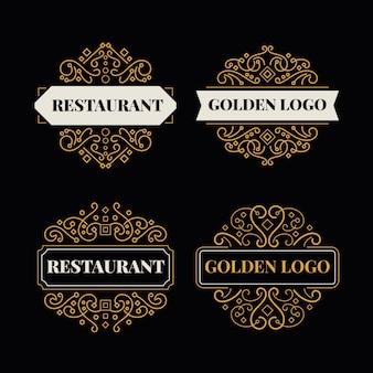 Colección de logos de restaurante retro dorado