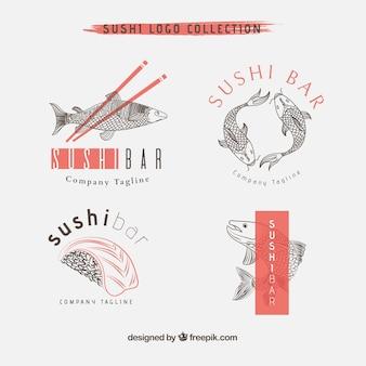 Colección de logos de restaurante de sushi dibujados a mano