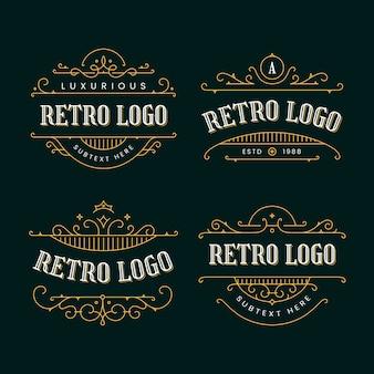 Colección de logos retro con adornos dorados.