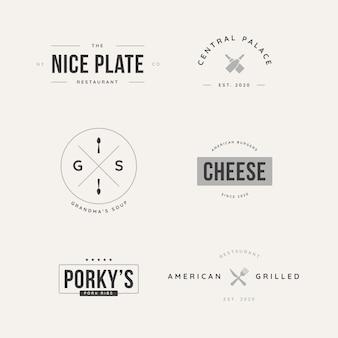 Colección de logos retro para diferentes restaurantes.
