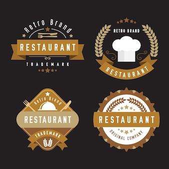 Colección de logos retro de restaurante con cubiertos
