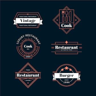 Colección de logos retro de restaurante