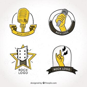 Colección de logos de rock dibujados a mano con estilo vintage