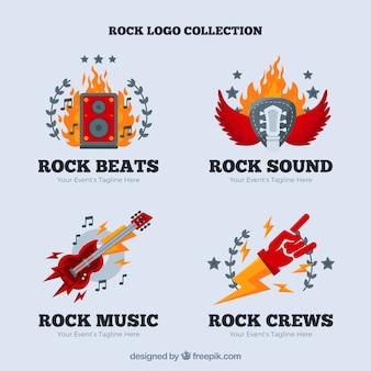 Colección de logos de rock con diseño plano