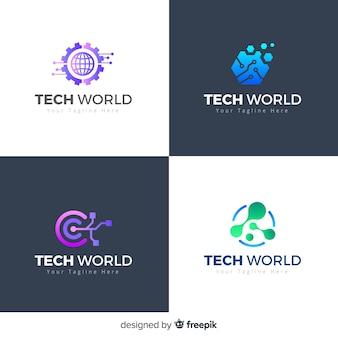 Colección logos tecnológicos estilo degradado