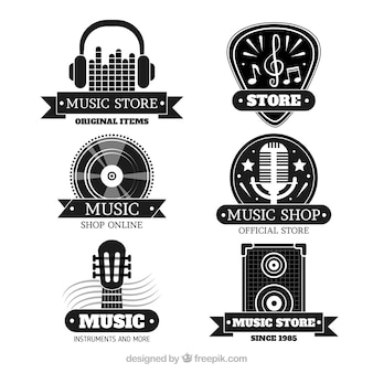 Colección de logos de tienda de música con diseño plano