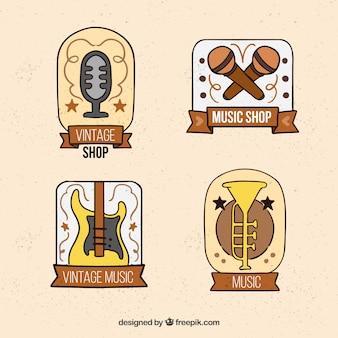Colección de logos de tienda de música con estilo vintage