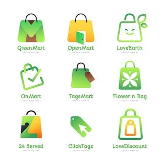 Colección de logos de tienda online degradados