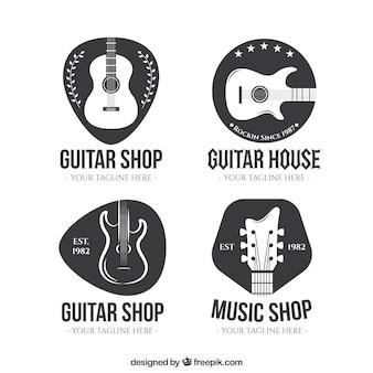Colección de logos de tiendas de guitarra