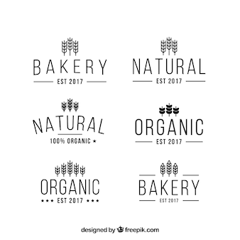 Colección de logos de trigo en estilo plano