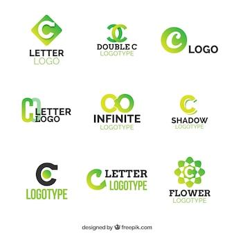 Colección de logos verdes de la letra c