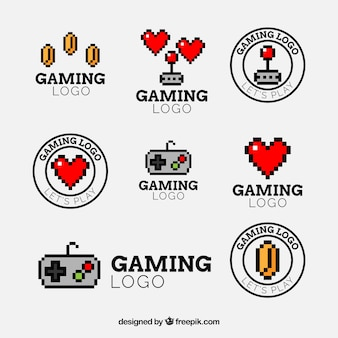 Colección de logos de videojuegos con diseño plano
