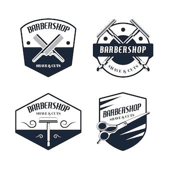 Colección de logos vintage de barbería