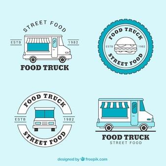 Colección de logos vintage de food truck