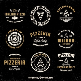 Colección de logos vintage de pizza