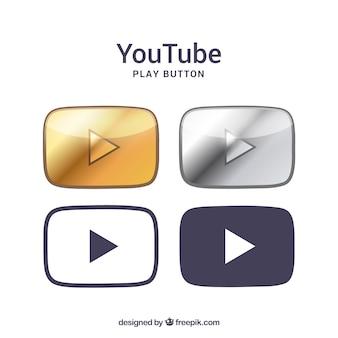 Colección de logos de youtube con diseño plano
