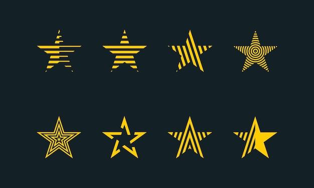 Colección de logotipo abstracto en forma de estrella. prima vectorial.
