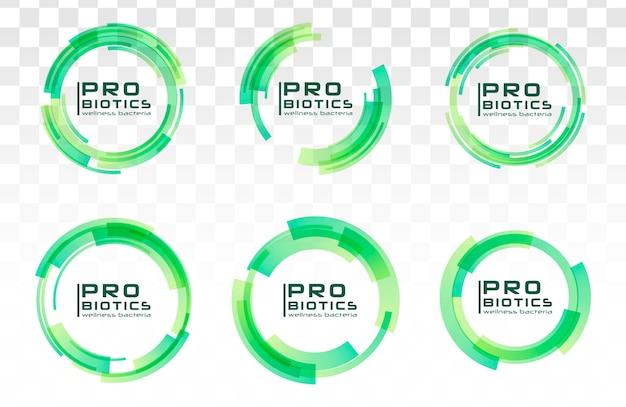 Colección de logotipo de bacterias probióticos
