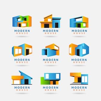 Colección del logotipo de la casa moderna.