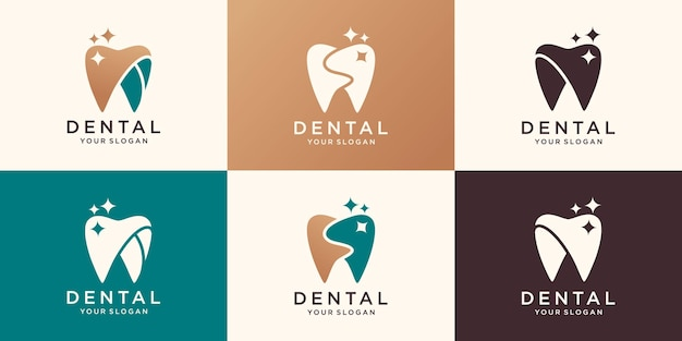 Colección de logotipo de clínica dental.