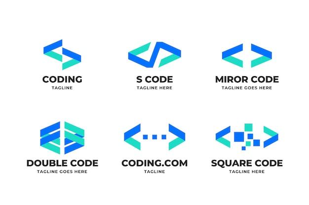 Colección de logotipo de código de diseño plano