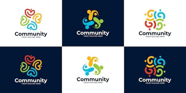 Colección de logotipo de la comunidad de personas o diseño de logotipo de clínica médica